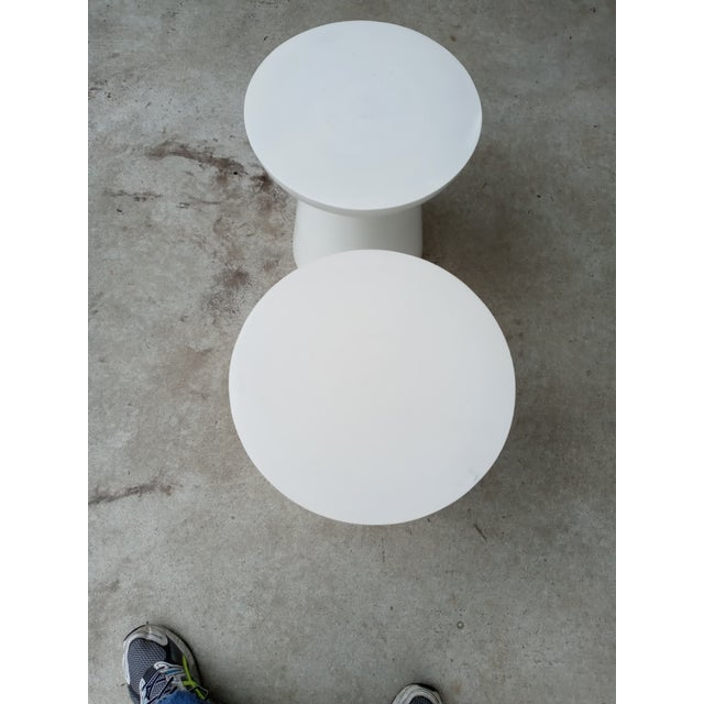 Mid-Century Modern Mid Century Off White Aluminum Stools - a Pair For Sale - Image 3 of 7