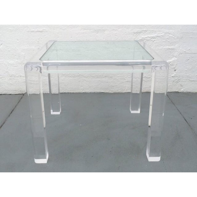 "Beautifully designed acrylic with a 1/2"" thick inset glass top occasional table by Les Prismatiques."