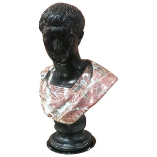 Late 1800s Glazed Terracotta and Marble Bust of a Youthful Augustus, Italy For Sale