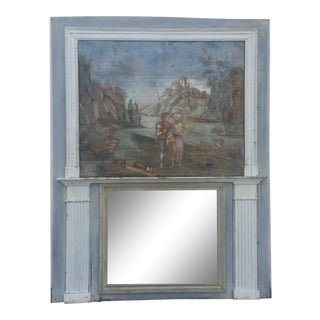 Large 19th Century Trumeau Mirror For Sale