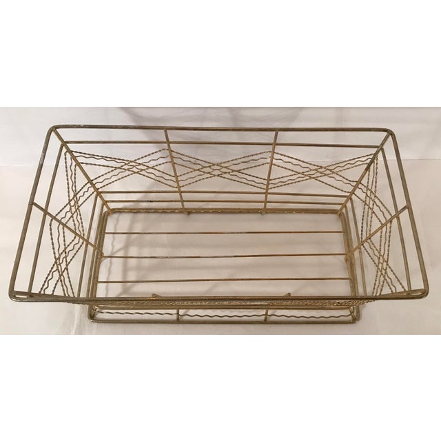Mid-Century Modern Mid Century Expanded Gold Metal Basket For Sale - Image 3 of 8