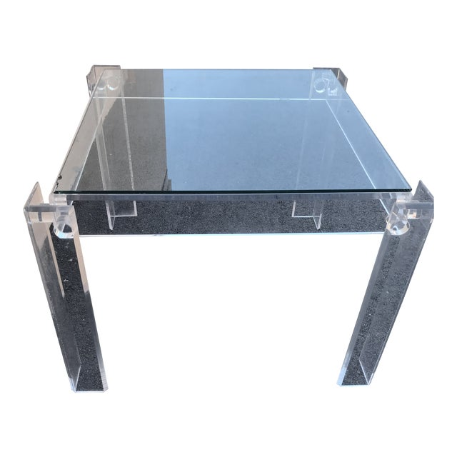 1970s Modern Clear Lucite Table For Sale