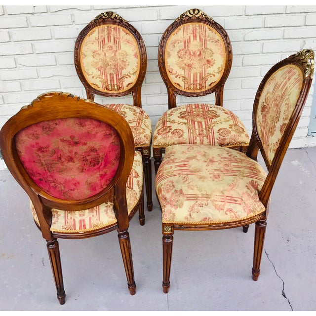 Set of 4 Vintage Beige & Burgundy French Dining Chairs For Sale - Image 4 of 13