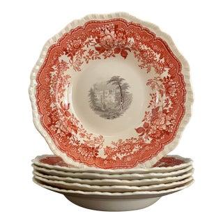 Antique Mason's England Ironstone Black & Red Transferware Bowls - Set of 6 For Sale