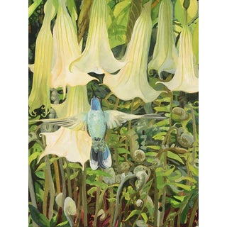 "Laurie Flaherty ""Rising"" Contemporary Flora and Fauna Gouache Painting For Sale"