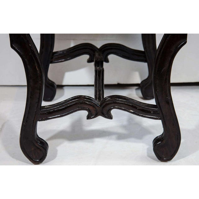 1940s Hollywood Regency Velvet Stool with Carved Wood Base For Sale - Image 5 of 5