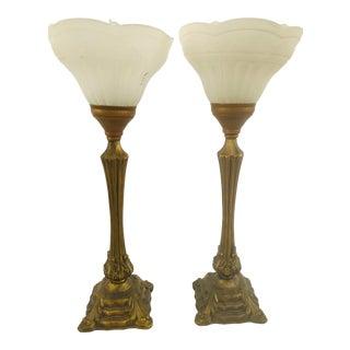 1980s Art Nouveau Style Torche Buffet Lamps - a Pair For Sale