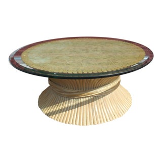 Vintage McGuire Mid Century Modern Bamboo Wheat Sheaf Coffee Table For Sale