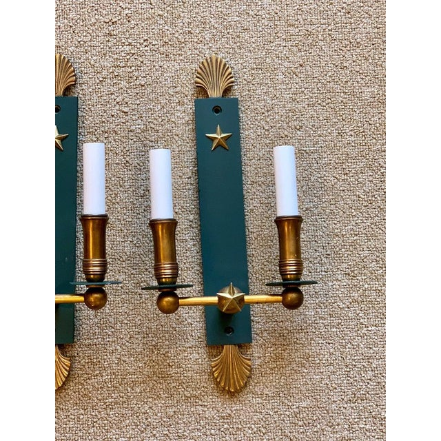 Metal Pair of French Modern Wall Sconces, in the Style of Adnet For Sale - Image 7 of 9