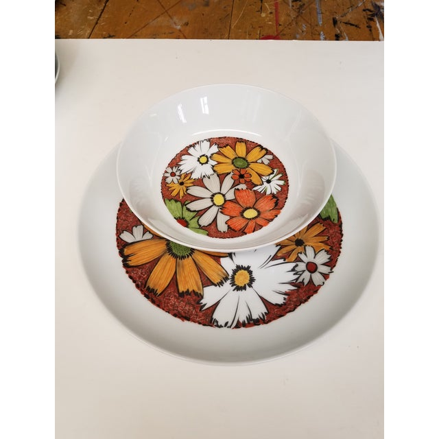 """This pattern is so fun with the Daisys. This serving platter is 12""""wide and 1.5"""" deep. Great for food with sauces. The..."""