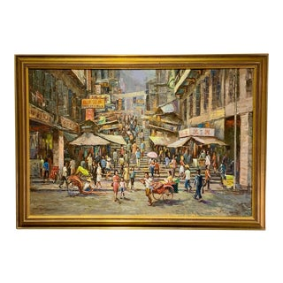 """Mid 20th Century """"Ladder Street Hong Kong"""" Oil Painting by P. C. Chan, Framed For Sale"""