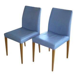 1980s Vintage Poltrona Frau Liz Blue Leather Chairs- A Pair For Sale