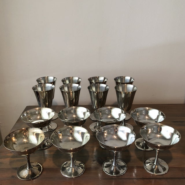 1960s Art Deco Silver Plated Italian Holiday Goblets and Champagne Glasses - 17 Pieces For Sale - Image 4 of 7