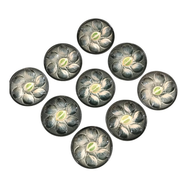 Vintage French Saint Clement Oyster Plates - Set of 9 For Sale