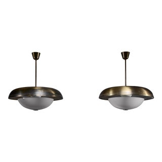 Pair of Harald Notini Brass and Glass Pendants for Bohlmarks For Sale