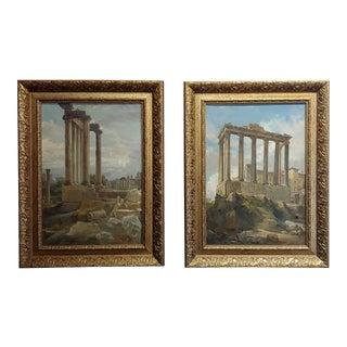 Wilhelm Kendler -Roman Ruins-Pair of 19th Century Capriccios Oil Paintings For Sale