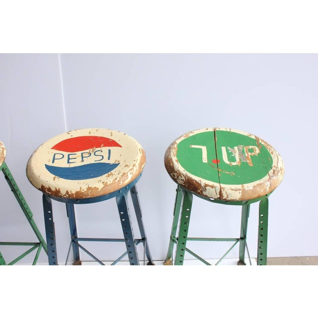 Rustic 1950's Vintage Folk Art Advertising Pepsi & 7UP Stools- Set of 4 For Sale - Image 3 of 4