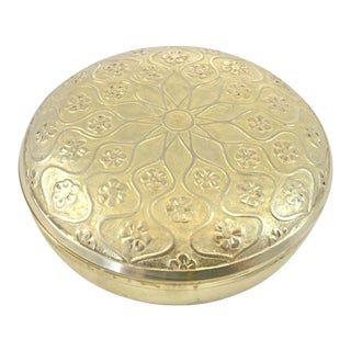 Round Arabesque Brass Box For Sale