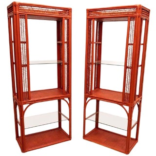 Pair of Coral Lacquered Wicker & Rattan Etageres For Sale