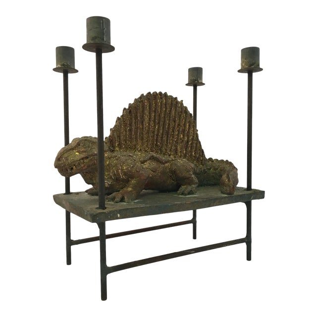 Thoym Rebusi Studio Tom McCanna Gilt Terracotta Dimetrodon Candleholder For Sale