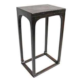 Tall Carved Wood Pedestal Table For Sale