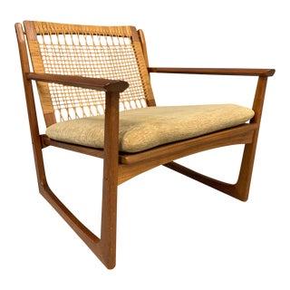 Hans Olsen Teak and Cane Lounge Chair for Juul Kristensen For Sale