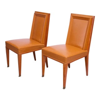 Pair of Jacques Quinet Occasional Chairs in Leather and Mahogany For Sale