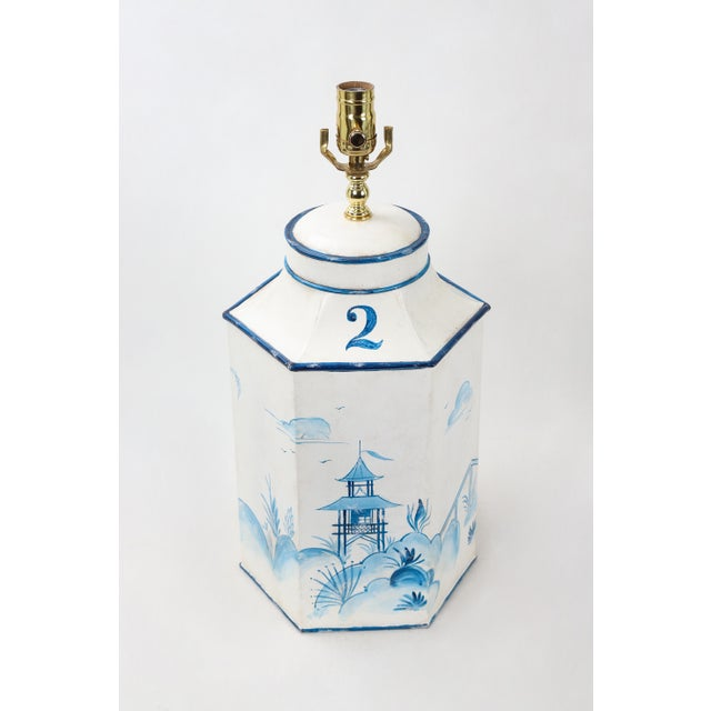 Asian Mid 20th Century Vintage Hexagonal Blue & White Tole Tea Caddy #2 For Sale - Image 3 of 10