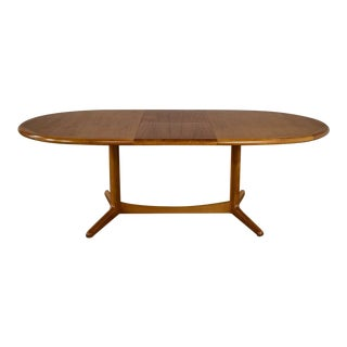 Scandinavian Modern Teak Oval Dining Table With Integral Leaf Style Dyrlund For Sale