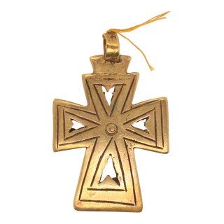 Vintage Bronze Cross Pendant For Sale