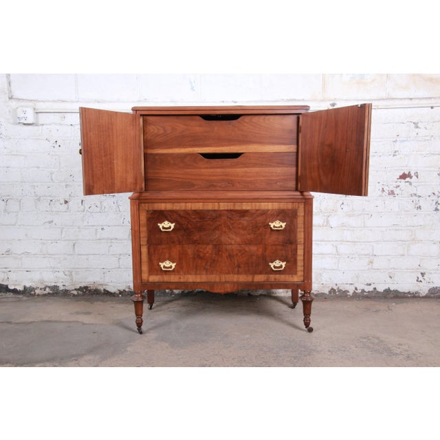 Early Herman Miller Burled Walnut Gentleman's Chest, Circa 1920s For Sale In South Bend - Image 6 of 13