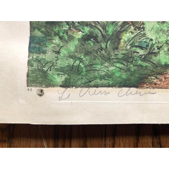 """This pastoral scene by Paul Lecomte is an etching and aquatint signed in pencil """"PE Lecomte"""" with a title """"Le Vieux Chene""""..."""