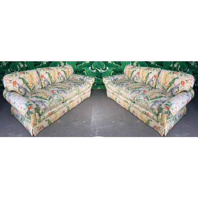 Floral Upholstered Sofas by Robb and Stucky - A Pair For Sale - Image 9 of 10