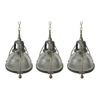Mid Century Steel & Brass Holophane Chandeliers - Set of 3