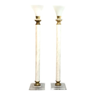 Lucite & Brass Torchiere Floor Lamps - a Pair For Sale