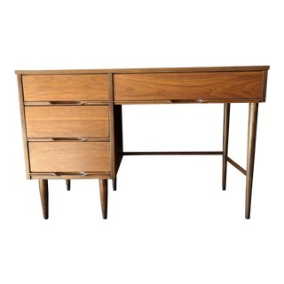 Mid Century Refinished Walnut Compact Desk With Sculpted Handles For Sale