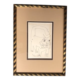 "Original Vintage Robert Cooke Ink Drawing ""Mean Cat"" For Sale"