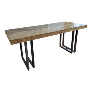 Slab-Style Herringbone Pine and Steel Crafting Dining Table For Sale
