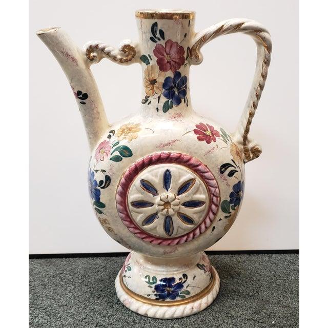 Ceramic Circa 1920 Belgian Art Deco Ceramic Gilded Floral Motifs Ewer For Sale - Image 7 of 7
