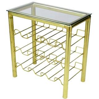 Modern Brass Wine Rack Table For Sale