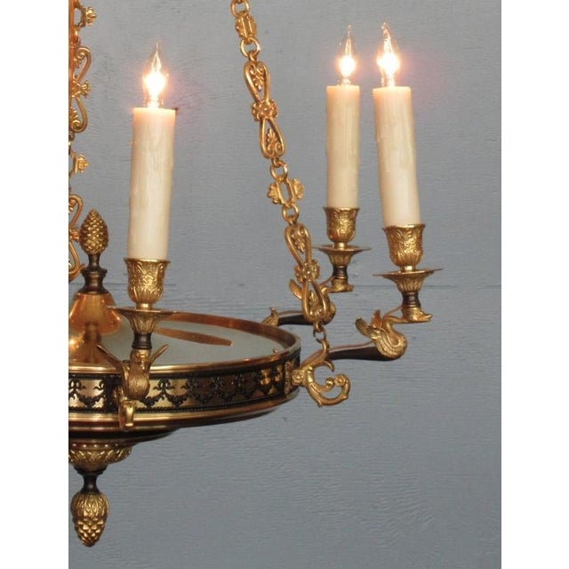 Gold Early 19th Century French Restoration Patinated and Bronze Dore Swan Chandelier For Sale - Image 8 of 9