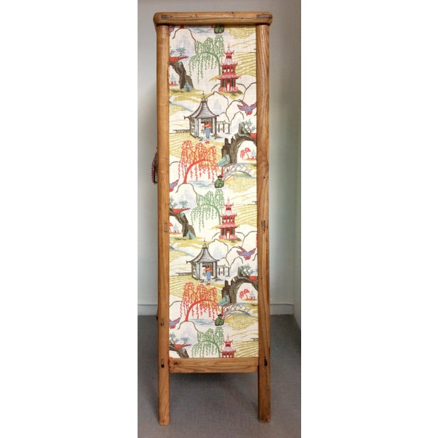Retro Chinese Upholstered Armoire - Image 5 of 10
