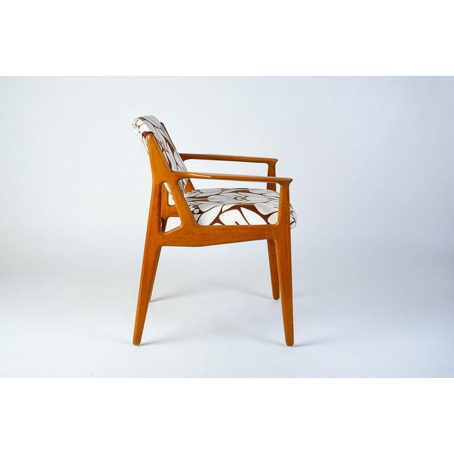 Mid-Century Modern Teak Side Chair With Tipping Back. Redone in a bright and colorful floral cotton print.