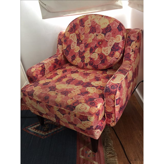 Rose Print Upholstered Chair - Image 3 of 5