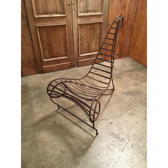 Vintage Mid Century Andre Dubreuil Style Iron Spine Chair For Sale - Image 11 of 11