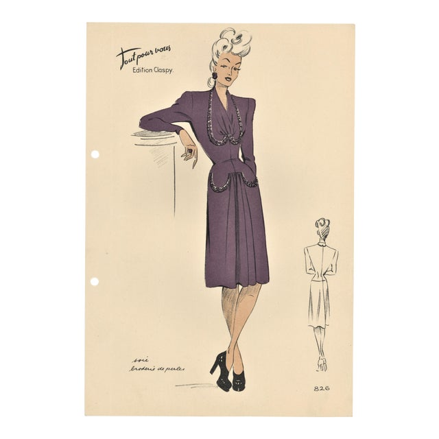 French Fashion Design Lithograph For Sale