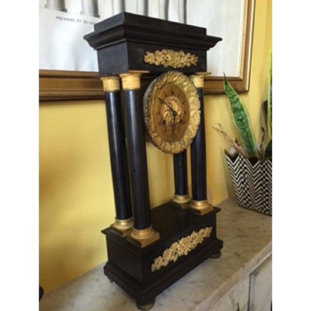Gilt Metal & Black Marble Portico Mantel Clock For Sale - Image 5 of 5