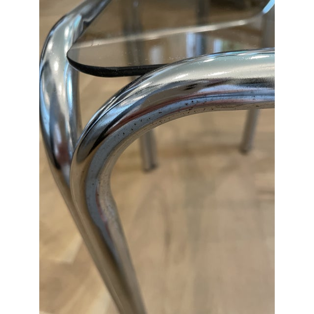 1970s Chrome and Smoked Glass Nesting Tables - Set of 2 For Sale - Image 4 of 7
