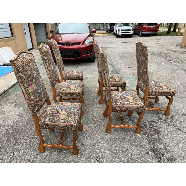 Wood 1900s Century French Country Louis XIII Style Os De Mouton Dining Chairs - Set of 6 For Sale - Image 7 of 13