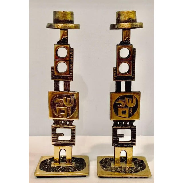 1960s Mid-Century Modern Brutalist Jewish Sabbath or Daily Candleholders - a Pair For Sale - Image 12 of 12